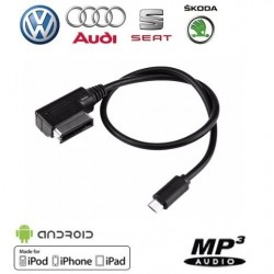 Cable Micro USB pour vehicule Audi VW Seat Skoda